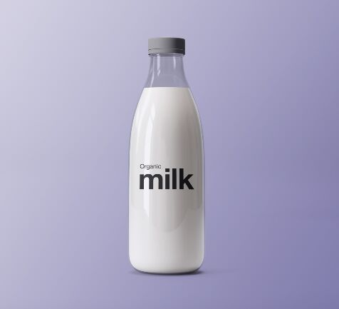 Realistic Sleek Milk Bottle PSD Mockup