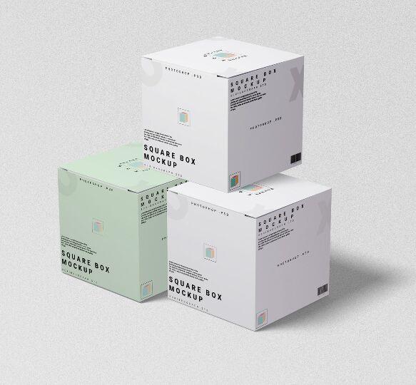 Realistic Square Box PSD Mockup