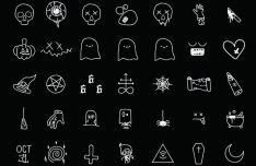 35 Thin Line Halloween Icons Vector