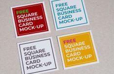 6 Square Card Mockups PSD