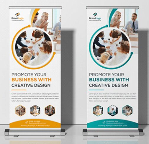 4 Roll-up Stand Mockups Vector