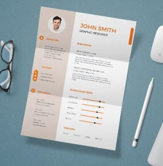 Folded Paper Resume Mockup PSD