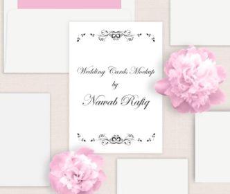 Vintage Wedding Cards Mockup PSD