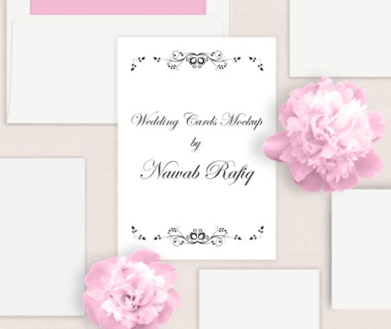 Vintage Wedding Cards Mockup PSD