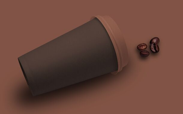Fallen Coffee Cup PSD Mockup