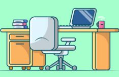 Work Space & Notebook Vector Illustrations