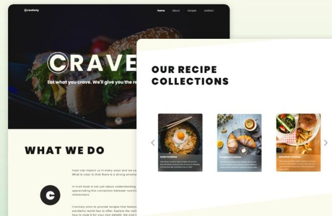 Food Recipe Website Template Adobe XD