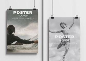 Handing A4 Poster Hanging Mockup PSD
