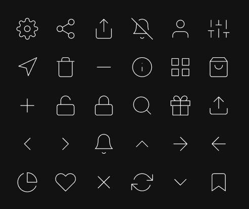 30 Thin Line UI Icons Figma