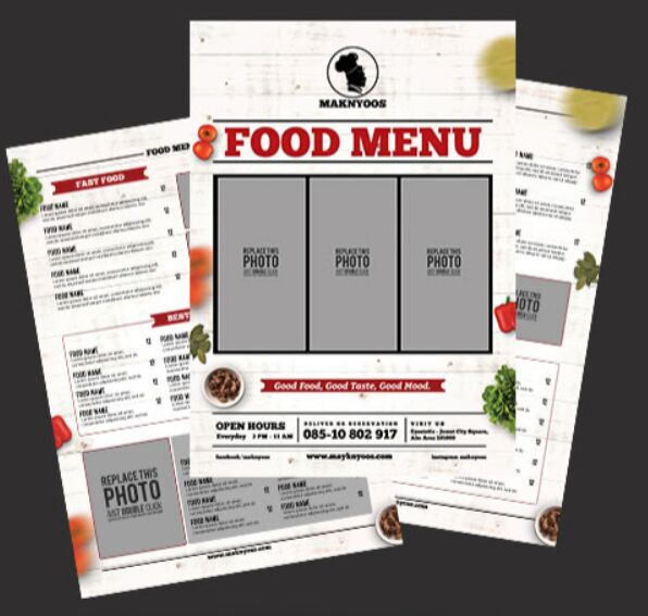 A4 Restaurant Food Menu Template PSD