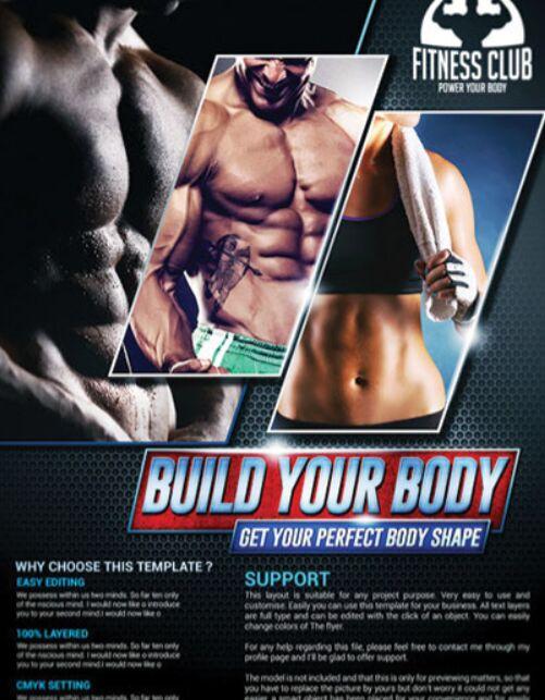 Fitness Club GYM Template PSD