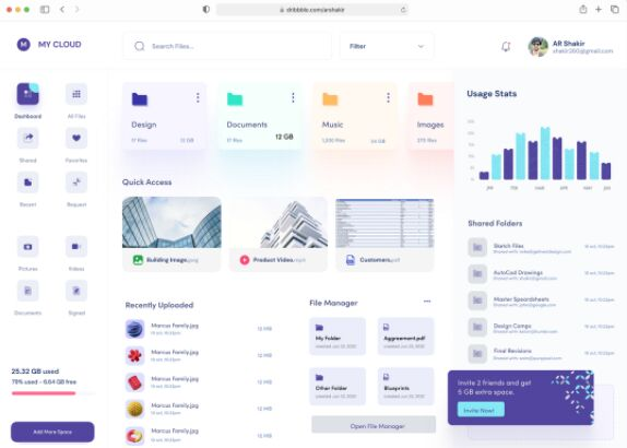 Cloud File Storage Dashboard UI Figma