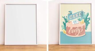 Vertical White Poster Frame PSD Mockup
