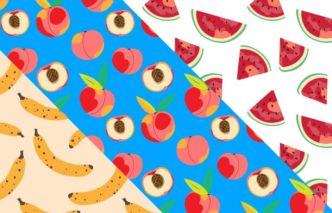 3 Seamles Fruit Patterns Vector