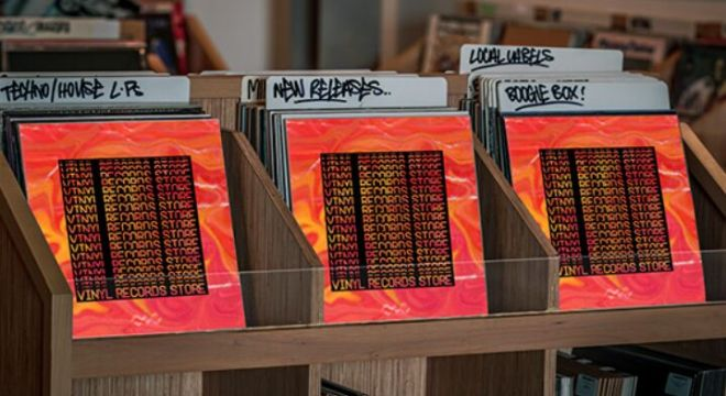 Vinyl Records Store Mockup PSD