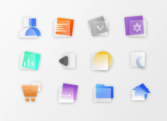 22 Glassmorphism Icons (PNG & SVG)