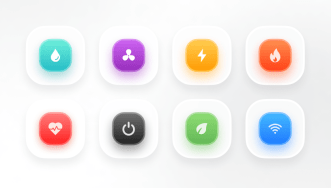 8 Colorful 3D Action Buttons Figma