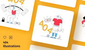 404 Not Found Illustration Set (Sketch & Vector)