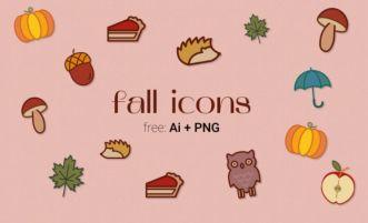 9 Sweet Autumn Icons Vector