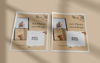 Realistic A5 Size Paper Flyer Mockup PSD