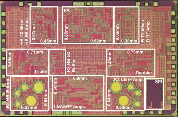 Figure 2. CMOS wireless transceiver chip that achieved wireless communication at 120 Gbps