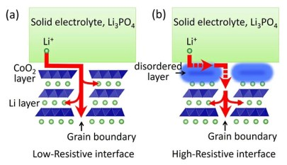 Figure 2. Conduction path of Li ions at the solid-electrolyte/electrode interface