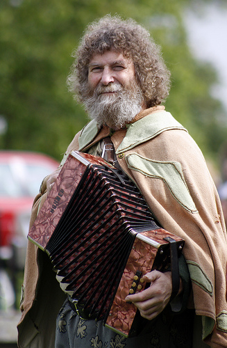 Pete Grassby in Wizard's outfit, with melodeon