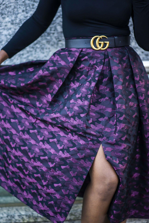 Closet Camo Print Pleated Skirt