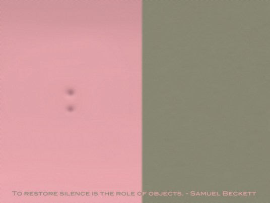 To restore silence is the role of objects