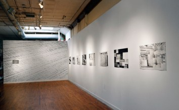 """Untitled, Graphite on wall [left]. Window series 1- 8, Collaged etching and aquatint, 20"""" x 30"""" ea. [right] Photo: Carlos Avendaño"""