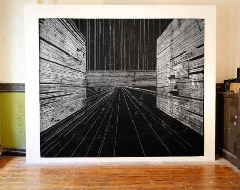 Loc 2, Saral transfer drawing, 8' x 10'. Photo: Carlos Avendaño