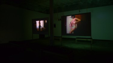 Installation photo of space in Little Berlin, left video is of Bunny Rogers, right video is Ann Hirsch. Photo credit to Beth Heinly and Little Berlin