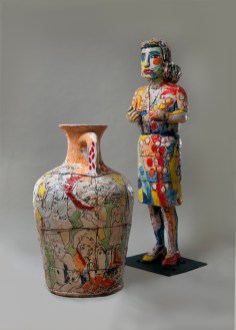 Viola Frey, Grandmother with Vase, 1998 Ceramic; vase: 56 x 30 x 30 inches; woman: 93 x 32 x 26 inches PAFA, Art by Women Collection, Gift of Linda Lee Alter, 2011.1.14 Art © Artists' Legacy Foundation/Licensed by VAGA, New York, NY