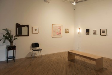 "(Left to Right) James Castle - ""REAL"" Lee Godie - ""City of Plenty"" Andrew Leach - ""Nethertasia"" Katherine Bradford - ""Three Cyclist"" Gregory Halpern - ""Untitled"" Emmet Gowin - ""Untitled (Edith)"" Image: Patrick Barnes"