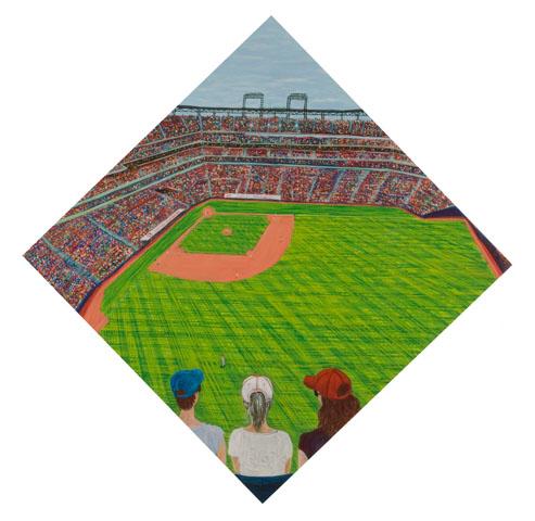 Sarah McEneaney, Baseball 2010 egg tempera on wood, 33.5 x 33.5 in.