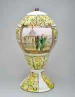 Freud Mirror Urn, 2012low fire whiteware, china paint, luster and underglaze15 1/2 x 8 x 8 inches