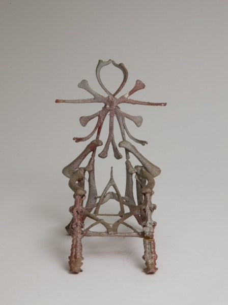 Chicken Bone Throne, Eugene Von Bruenchenhein, Date unknown Chicken bones; silver spray paint over pink and red paint; wire armature; glue. Top of seat back made of rib bones; armrests of wing bones; front legs of vertebrae, 7 1/2 × 4 × 4 1/4 inches (19.1 × 10.2 × 10.8 cm) The Jill and Sheldon Bonovitz Collection Photography by Will Brown