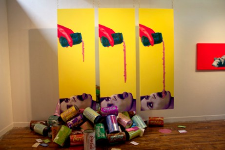"""Tasty triptych, each 80"""" x 32"""" x 1"""" mixed media: screenprint on paper, paint, wood, acrylic paint pour, brass chain 2012"""