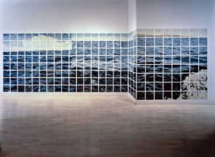 Atlantic Ocean,1984 Enamel over silkscreen grid on baked enamel steel plates 103 x 363 in. Courtesy of Locks Gallery, Philadelphia