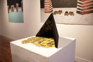 "Invisible Pyramid II Acrylic, Sand, Screenprint 7"" x 9.75"" x 5"" 2013"