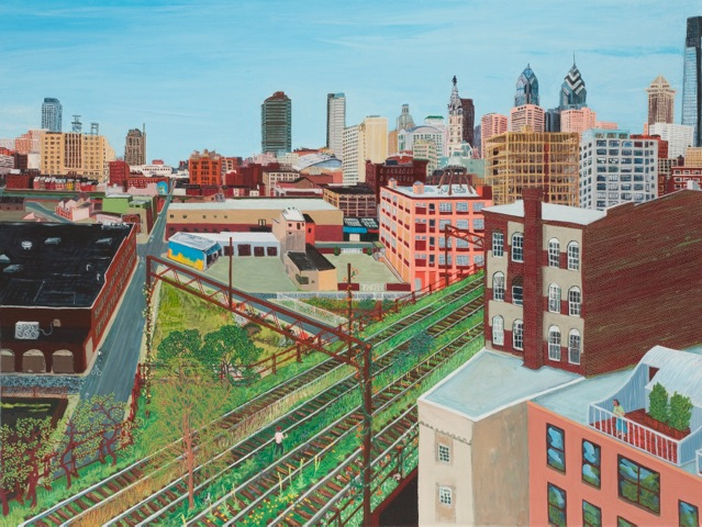 Trestletown, 10th and Hamilton 10th Floor, 2012 acrylic on linen 24 x 24 inches Courtesy of the Artist