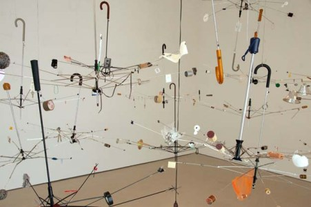 Demetrius Oliver Orrery, 2011 Umbrellas, turntable, studio detritus and mixed media