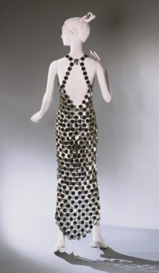 Silver and Black Dress, designed by Paco Rabanne, French, 1966, Rhodoid plastic and metal, Center Front Length: 36 inches (91.4 cm), Center Back Length: 55 inches (139.7 cm), Gift of Rubye Graham, 1969