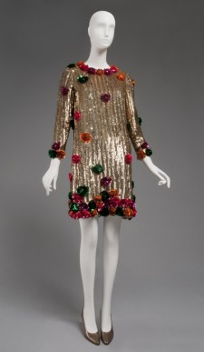 Gold Short Evening Dress, designed by Geoffrey Beene, American, 1967, plastic sequins and paillettes and rhinestones on silk plain weave, Center Back Length: 35 inches (88.9 cm), Circumference (Bust): 38 inches (96.5 cm), Waist: 40 inches (101.6 cm), Width (Shoulders- across back): 15 inches (38.1 cm), Gift of Marjorie C. Weinberg, 1997