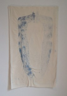 """C. Pazia Mannella, Trace, 2014. Watercolor and hand embroidery on raw silk, 40""""x24"""". $1500."""