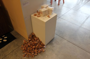 Chinese -out, 2006 Custom made fortune cookies and custom screened take-out boxes Yvonne Lung