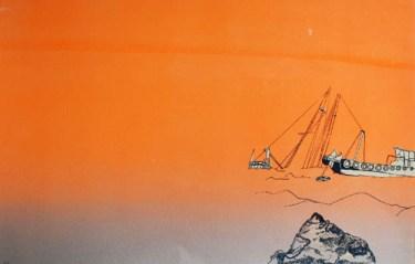 Tardy Tug, 2012, screen print, 11 x 17 inches, The Last Leg series: edition of 8