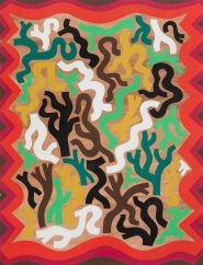 Isaac Tin Wei Lin, Abstract Rug Design for a Dwelling in the Forest, 2012, Gouache and ink on paper, 11 x 8 1/2 inches. Courtesy of Fleisher/Ollman.