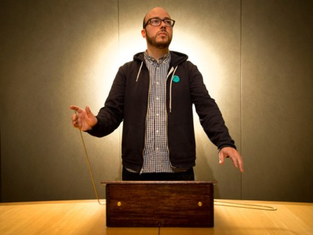 Sean Micheals with a homemade theremin. (Deren Calabrese/National Post)