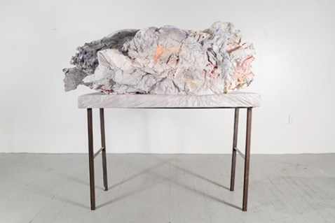 Breaker (not installed), 5' x 3' x 5', plaster, pigment, ink, spices, tinfoil, foam, screen, steel. 2014.